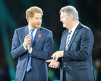 Prince Harry speaks with Bernard Lapasset, Chairman of World Rugby, at the end of the Rugby World Cup Final between New Zealand and Australia - 31/10/2015 - Twickenham Stadium, London<br /> Mandatory Credit: Rob Munro/Stewart Communications