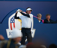 26.09.2014. Gleneagles, Auchterarder, Perthshire, Scotland.  The Ryder Cup, Day 1.  Bubba Watson [USA] on the first tee at Friday Fourballs.