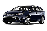 Stock pictures of low aggressive front three quarter view of a 2017 Toyota Avensis TS Premium 5 Door Wagon