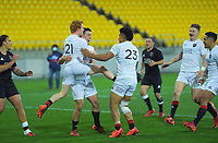 South players congratulate Will Jordan on scoring the matchwinner during the rugby match between North and South at Sky Stadium in Wellington, New Zealand on Saturday, 5 September 2020. Photo: Dave Lintott / lintottphoto.co.nz