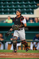 Jupiter Hammerheads catcher Rodrigo Vigil (15) during a game against the Lakeland Flying Tigers on April 17, 2017 at Joker Marchant Stadium in Lakeland, Florida.  Lakeland defeated Jupiter 5-1.  (Mike Janes/Four Seam Images)