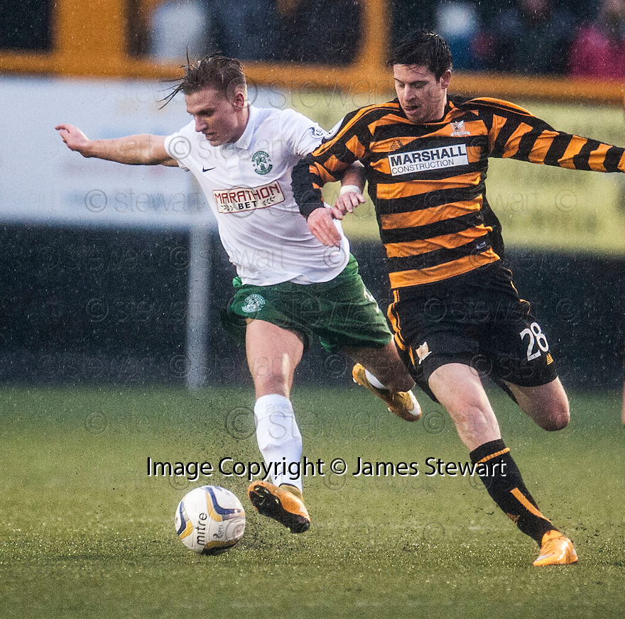 Hib's Jason Cummings holds of Alloa's Greg Rutherford.