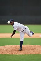 GCL Yankees East relief pitcher Anderson Severino (7) delivers a pitch during the second game of a doubleheader against the GCL Blue Jays on July 24, 2017 at the Yankees Minor League Complex in Tampa, Florida.  GCL Yankees East defeated the GCL Blue Jays 7-3.  (Mike Janes/Four Seam Images)