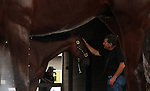 April 13, 2015 American Pharoah arrives at Churchill Downs from Arkansas with the other Bob Baffert horses.  He is the winner of the 2015 Arkansas Derby and a possible favorite for the Kentucky Derby. Owner Zayat Stables.  American Pahroah gets a pat from assistant Jimmy Barnes. ©Mary M. Meek/ESW/CSM