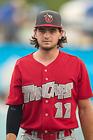 Fort Wayne TinCaps Jonny Homza (11) during a game against the West Michigan Whitecaps on August 21, 2021 at LMCU Ballpark in Comstock Park, Michigan.  (Mike Janes/Four Seam Images)