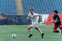 FOXBOROUGH, MA - JULY 25: USL League One (United Soccer League) match. Ethan Vanacore-Decker #7 of Union Omaha dribbles at midfield during a game between Union Omaha and New England Revolution II at Gillette Stadium on July 25, 2020 in Foxborough, Massachusetts.