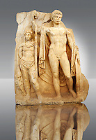 Photo of Roman releif sculpture of Emperor Tiberius with captive About to vanquish Britanica from Aphrodisias, Turkey, Images of Roman art bas releifs. Buy as stock or photo art prints.  Emperor Tiberius stands with a barbarian captive depicted half the height of Tiberius.