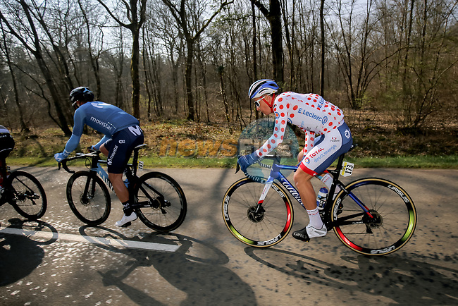 Polka Dot Jersey Fabien Doubey (FRA) Total Direct Energie in the breakaway during Stage 4 of Paris-Nice 2021, running 187.5km from Chalon-sur-Saone to Chiroubles, France. 10th March 2021.<br /> Picture: ASO/Fabien Boukla | Cyclefile<br /> <br /> All photos usage must carry mandatory copyright credit (© Cyclefile | ASO/Fabien Boukla)