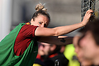 Emma Lipman of AS Roma does stretch exercises after been substituted during the Women Italy cup round of 8 second leg match between AS Roma and Roma Calcio Femminile at stadio delle tre fontane, Roma, February 20, 2019 <br /> Foto Andrea Staccioli / Insidefoto
