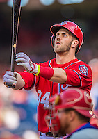 15 September 2013: Washington Nationals outfielder Bryce Harper steps up to the plate during a game against the Philadelphia Phillies at Nationals Park in Washington, DC. The Nationals took the rubber match of their 3-game series 11-2 to keep their wildcard postseason hopes alive. Mandatory Credit: Ed Wolfstein Photo *** RAW (NEF) Image File Available ***