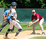 WATERBURY, CT 073121JS18 Midland's Jacob Crowe (25) gets hit with the ball on a throw to South Troy's Jacob Skarlis (17)  after getting caught in a run down during their Mickey Mantle World Series baseball game Saturday at Municipal Stadium in Waterbury. Crowe was able to get back safely to third base on the play. <br /> Jim Shannon Republican American