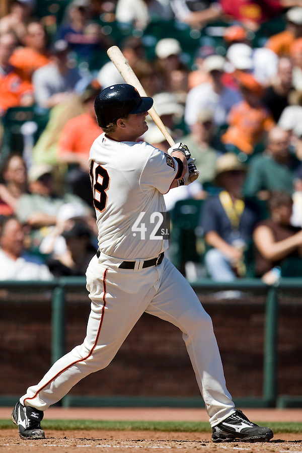 12 April 2008: #18 Matt Cain of the San Francisco Giants hits an homerun to left in the 6th inning during the St. Louis Cardinals 8-7 victory over the San Francisco Giants at the AT&T Park in San Francisco, CA.