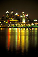AJ1208, skyline, Philadelphia, Pennsylvania, The illuminated skyline of downtown Philadelphia reflects in the calm waters of the Delaware River in the evening, Pennsylvania.