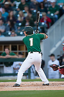 TJ Nichting (1) of the Charlotte 49ers at bat against the North Carolina State Wolfpack at BB&T Ballpark on March 31, 2015 in Charlotte, North Carolina.  The Wolfpack defeated the 49ers 10-6.  (Brian Westerholt/Four Seam Images)