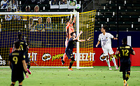 CARSON, CA - SEPTEMBER 06: Pablo Sisniega #23 of LAFC simps high for a save over team mate Pablo Sisniega #23 GK, Tristan Blackmon #27 during a game between Los Angeles FC and Los Angeles Galaxy at Dignity Health Sports Park on September 06, 2020 in Carson, California.