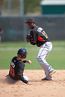 Miami Marlins Anfernee Seymour (12) looks to throw to first as Ryan Aper (51) slides in during a minor league Spring Training intrasquad game on March 31, 2016 at Roger Dean Sports Complex in Jupiter, Florida.  (Mike Janes/Four Seam Images)