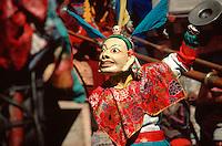 Masked dancer at Mane Rimdu festival, Thyangboche Monastery, Khumbu (Everest) region, Nepal Himalaya