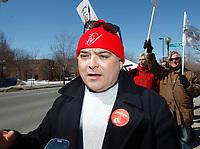 Manifestation des enseignants contre l'austérité,  31 mars 2015. Sylvain Malette, Federation Autonome de l'Enseignement.<br /> <br /> PHOTO : Agence Québec Presse