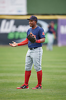 Salem Red Sox right fielder Kyri Washington (21) during warmups before the first game of a doubleheader against the Potomac Nationals on May 13, 2017 at G. Richard Pfitzner Stadium in Woodbridge, Virginia.  Potomac defeated Salem 6-0.  (Mike Janes/Four Seam Images)