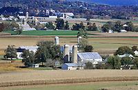 Amish farms and fields, Ephrata, Lancaster County, Pennsylvania, USA