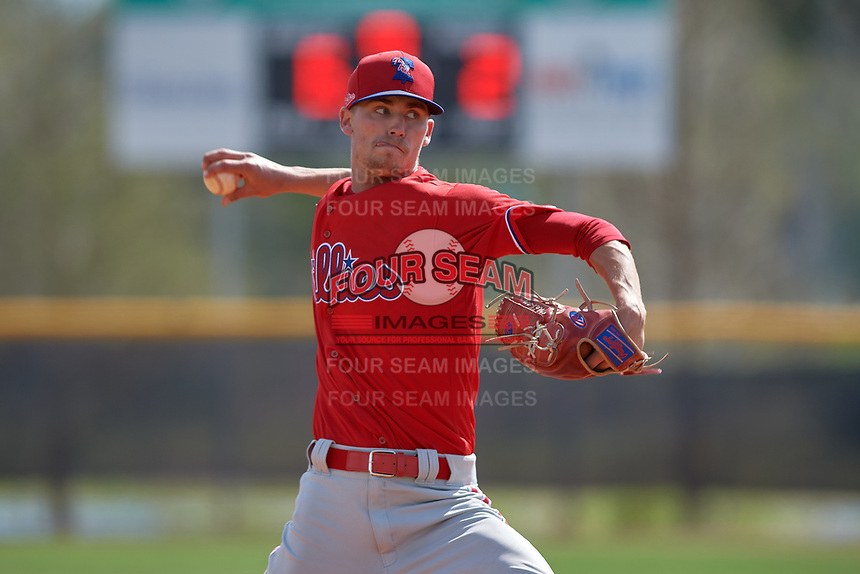 Philadelphia Phillies pitcher Tyler McKay (16) during an exhibition game against the Canada Junior National Team on March 11, 2020 at Baseball City in St. Petersburg, Florida.  (Mike Janes/Four Seam Images)