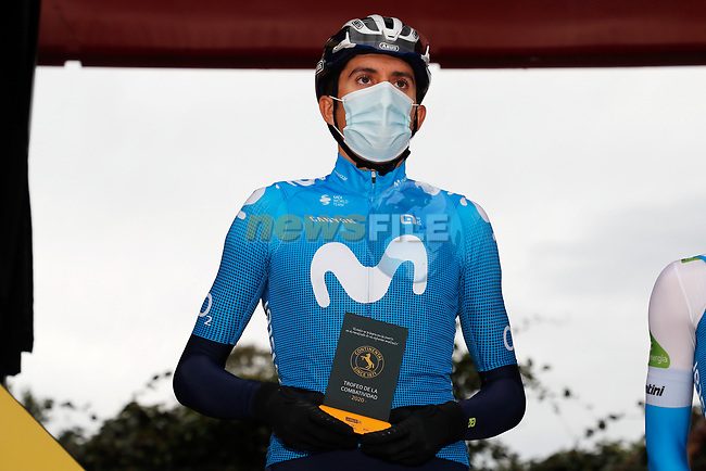 Marc Soler (ESP) Movistar Team most aggressive rider of yesterday's stage at sign on before the start of Stage 15 of the Vuelta Espana 2020, running 230.8km from Mos to Puebla de Sanabria, Spain. 5th November 2020. <br /> Picture: Luis Angel Gomez/PhotoSportGomez   Cyclefile<br /> <br /> All photos usage must carry mandatory copyright credit (© Cyclefile   Luis Angel Gomez/PhotoSportGomez)