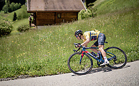 yellow jersey / GC leader Richie Porte (AUS/Ineos Grenadiers) descending from the Col de la Colombière (HC/1618 m/11.7km@5.8%)<br /> <br /> 73rd Critérium du Dauphiné 2021 (2.UWT)<br /> Stage 8 (Final) from La Léchère-Les-Bains to Les Gets (147km)<br /> <br /> ©kramon