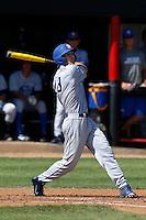 Joey Epperson #23 of the UC Santa Barbara Gauchos bats against the Cal State Northridge Matadors at Matador Field on May 10, 2013 in Northridge, California. UC Santa Barbara defeated Cal State Northridge, 6-1. (Larry Goren/Four Seam Images)
