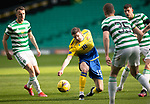 Celtic v St Johnstone…12.05.21  SPFL Celtic Park<br />Charlie Gilmour is closed down by David Turnbull, Ryan Christie and Kristoffer Ajer<br />Picture by Graeme Hart.<br />Copyright Perthshire Picture Agency<br />Tel: 01738 623350  Mobile: 07990 594431