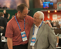 Arizona Diamondbacks Representative Luis Gonzalez with Hall of Famer Tommy Lasorda during the MLB Draft on Thursday June 05,2014 at Studio 42 in Secaucus, NJ.   (Tomasso DeRosa/ Four Seam Images)