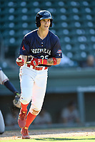 Right fielder Jarren Duran (35) of the Greenville Drive in Game 1 of a doubleheader against the Rome Braves on Friday, August 3, 2018, at Fluor Field at the West End in Greenville, South Carolina. Rome won, 7-6. (Tom Priddy/Four Seam Images)