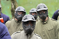 Pictured: Nathan Dyer (FRONT) and L-R Angel Ranger and Albert Serran.Tuesday 25 January 2011<br /> Re: Swansea City FC footballers and staff have spend a morning at Teamforce Paintball in Llangyfelach near Swansea south Wales.