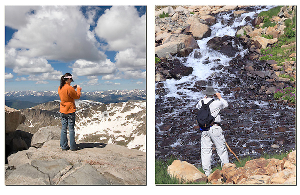 Photography from the summit of Mt Evans (left), west of Denver. <br /> John offers private, photo tours of Mt Evans, plus Denver and Boulder. Click the CONTACT button above for inquiries.