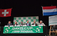 Switserland, Genève, September 17, 2015, Tennis,   Davis Cup, Switserland-Netherlands, Draw, <br /> Photo: Tennisimages/Henk Koster