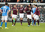 Hearts v St Johnstone…05.11.16  Tynecastle   SPFL<br />Prince Buaben celebrates his goal with Bjorn Johnsen<br />Picture by Graeme Hart.<br />Copyright Perthshire Picture Agency<br />Tel: 01738 623350  Mobile: 07990 594431