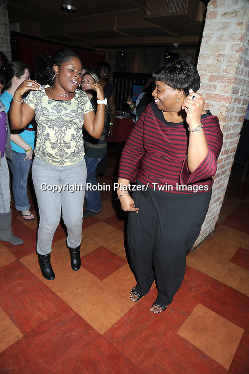 Shenell Edmonds and Jeania Davis dancing at the Shenell Edmonds Fan Club Dance Party  on October 10, 2010 at HB Burger in New York City.