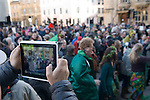 May day morning tourist taking photograph of Morris dancers using their ipad tablets mobile devise Oxford Oxfordshire 2013 2010s UK