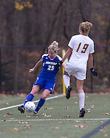 Hofstra University midfielder Brittany Butts (25) passes the ball. Boston College defeated Hofstra University, 3-1, in second round NCAA tournament match at Newton Soccer Field, Newton, MA.