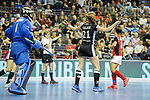 Berlin, Germany, February 10: During the FIH Indoor Hockey World Cup quarterfinal match between Germany (black) and Poland (red) on February 10, 2018 at Max-Schmeling-Halle in Berlin, Germany. Final score 3-1. (Photo by Dirk Markgraf / www.265-images.com) *** Local caption *** Franzisca HAUKE #21 of Germany