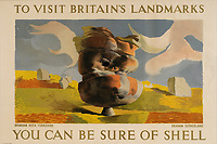 BNPS.co.uk (01202 558833)<br /> Pic: Lyon&Turnbull/BNPS<br /> <br /> Pictured: A 1937 poster featuring  Brimham Rock Yorkshire.<br /> <br /> A vast collection of vintage Shell posters have sold at auction for almost £60,000.<br /> <br /> The group of 49 sheets were sold directly from the oil giant's archives and featured some incredibly rare designs from down the years.<br /> <br /> All of the posters had previously been used in Shell advertising campaigns, dating back to between the 1920s and 1950s.<br /> <br /> Many of the colourful designed featured the slogan 'You can be sure of Shell' and list people who preferred their fuel.