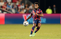 KANSAS CITY, KS - JULY 15: Eryk Williamson #19 of the United States passes off the ball during a game between Martinique and USMNT at Children's Mercy Park on July 15, 2021 in Kansas City, Kansas.