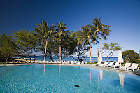 Crystal clear water of a swimming pool at an oceanfront resort on the leeward coast of the Big Island of Hawaii
