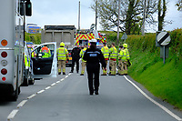Pictured: Emergency services on the A478 road near Llandissilio in Wales, UK. Monday 17 May 2021<br /> Re: Emergency services are the scene of a serious collision on the A478 near Llandissilio in Pembrokeshire, Wales, UK.<br /> The collision involved a motorcar and a bus carrying school children and was reported to police at 8.35am.<br /> A number of children received minor injuries with two taken to hospital by ambulance with what are described as minor injuries.<br /> The road is currently closed and officers remain at the scene.