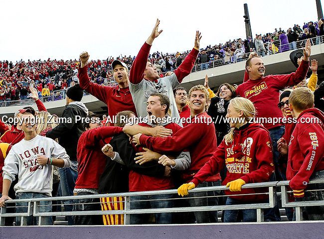 Iowa State Cyclones fans in action during the game between the Iowa State Cyclones and the TCU Horned Frogs  at the Amon G. Carter Stadium in Fort Worth, Texas. Iowa State defeats TCU 37 to 23..