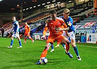 Blackpool's Gary Madine shields the ball from Peterborough United's Frankie Kent<br /> <br /> Photographer Chris Vaughan/CameraSport<br /> <br /> The EFL Sky Bet League One - Peterborough United v Blackpool - Saturday 21st November 2020 - London Road Stadium - Peterborough<br /> <br /> World Copyright © 2020 CameraSport. All rights reserved. 43 Linden Ave. Countesthorpe. Leicester. England. LE8 5PG - Tel: +44 (0) 116 277 4147 - admin@camerasport.com - www.camerasport.com