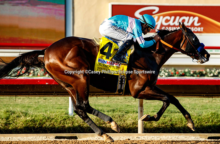 DEL MAR, CA  SEPTEMBER 6: #4 Pinehurst, ridden by Mike Smith, wins the Runhappy Del Mar Futurity (Grade 1) on September 6, 2021 at Del Mar Thoroughbred Club in Del Mar, CA. (Photo by Casey Phillips/Eclipse Sportswire/CSM)