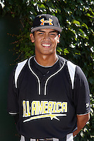 Infielder Chris Rivera #21 of El Dorado High School in Placentia, California poses for a photo before participating in the Under Armour All-American Game powered by Baseball Factory at Wrigley Field on August 17, 2012 in Chicago, Illinois.  (Mike Janes/Four Seam Images)