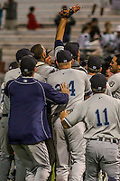 West Michigan Whitecaps players celebrate following their victory in game five of the Midwest League Championship Series against the Cedar Rapids Kernels on September 21st, 2015 at Perfect Game Field at Veterans Memorial Stadium in Cedar Rapids, Iowa.  West Michigan defeated Cedar Rapids 3-2 to win the Midwest League Championship. (Brad Krause/Four Seam Images)