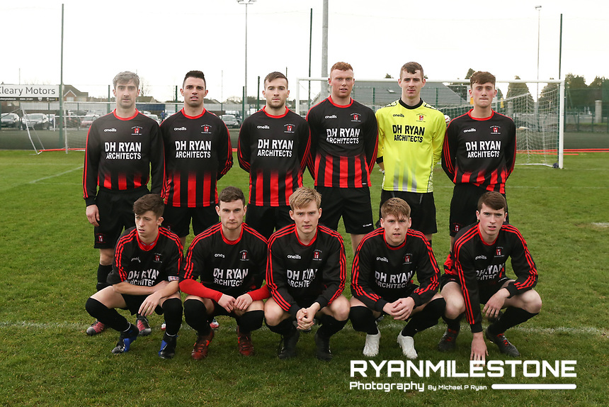 Peake Villa pose for a team photo ahead  the FAI Junior Cup 5th Round game between Peake Villa and  Carrig Celtic on Sunday 2nd December 2018 at Tower Grounds, Thurles Co Tipperary. Mandatory Credit: Michael P Ryan.