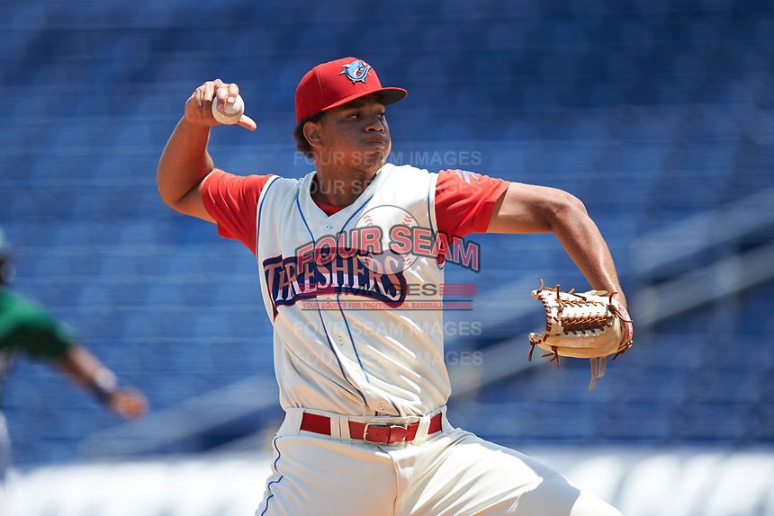 Clearwater Threshers relief pitcher Miguel Nunez (37) during a game against the Daytona Tortugas on April 20, 2016 at Bright House Field in Clearwater, Florida.  Clearwater defeated Daytona 4-2.  (Mike Janes/Four Seam Images)